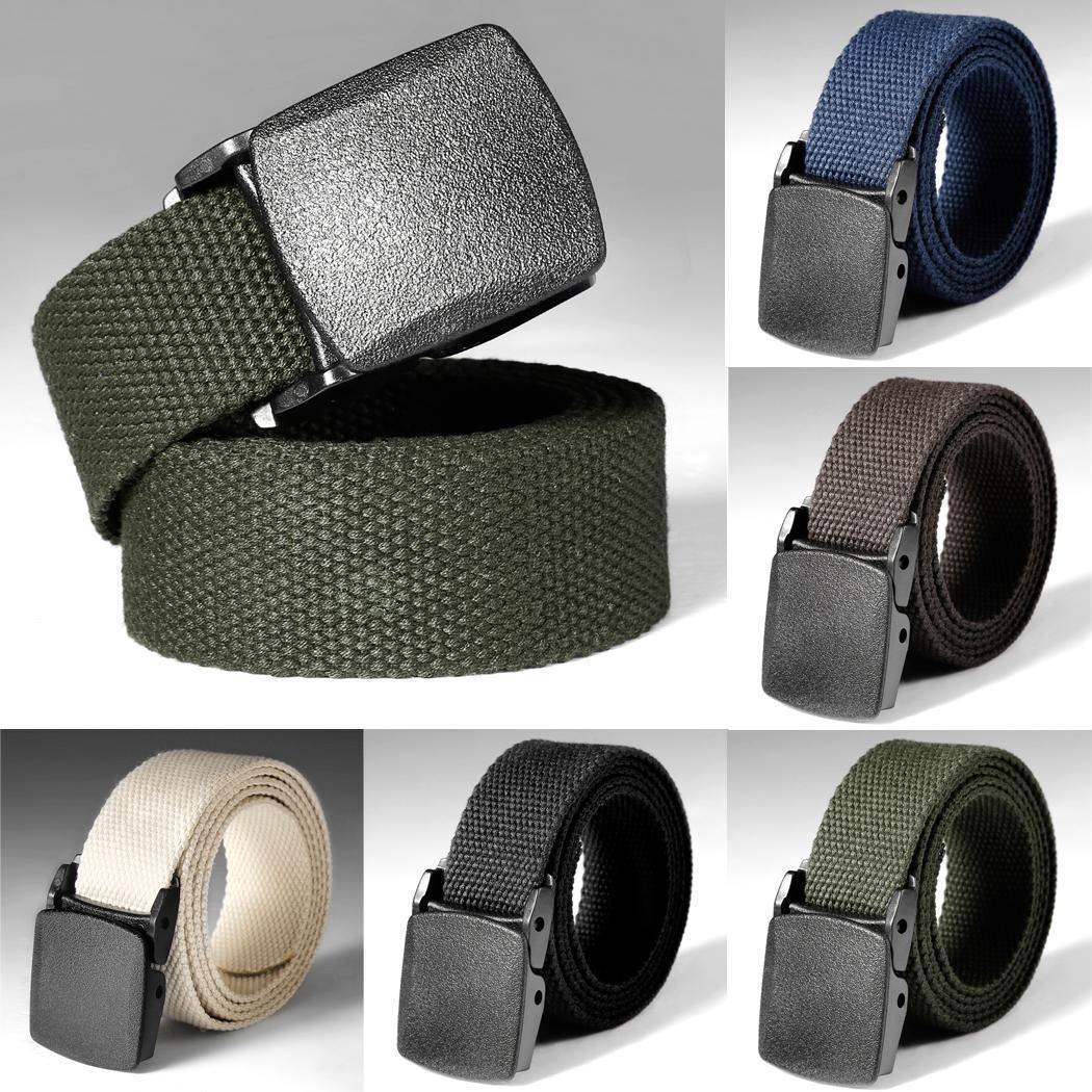 Unisex Waist Belt Mens Boys Plain Webbing Waistband Casual Canvas Belts